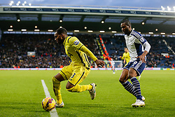 Danny Rose of Tottenham Hotspur is challenged by Brown Ideye of West Brom - Photo mandatory by-line: Rogan Thomson/JMP - 07966 386802 - 31/01/2015 - SPORT - FOOTBALL - West Bromwich, England - The Hawthorns - West Bromwich Albion v Tottenham Hotspur - Barclays Premier League.