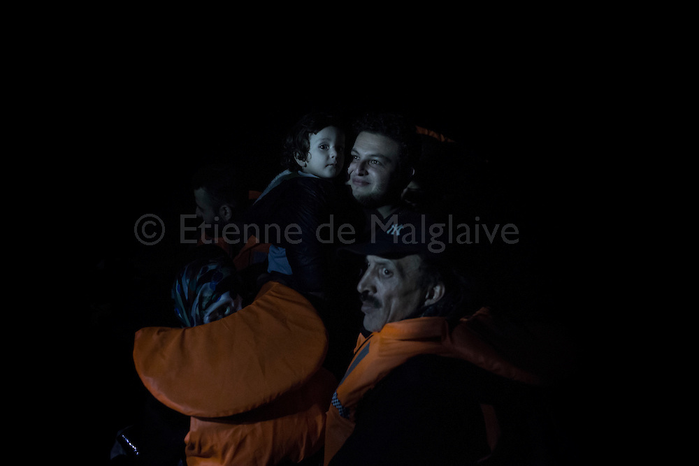 A rubber boat overcrowded with Syrian refugees had an engine failure during it's night trip, but was safely towed to Skala Sikaminias port by a Greek fishing boat, Greece on 12<br /> November, 2015. Lesbos, the Greek vacation island in the Aegean Sea between Turkey and Greece, faces massive refugee flows from the Middle East countries.