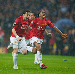 MOSCOW, RUSSIA - Wednesday, May 21, 2008: Manchester United's Owen Hargreaves and Anderson run to celebrate after beating Chelsea during the sudden death penalties shoot-out to decide the UEFA Champions League Final at the Luzhniki Stadium. (Photo by David Rawcliffe/Propaganda)