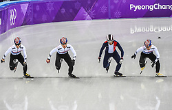 February 17, 2018 - Pyeongchang, Gangwon, South Korea - Lim Hyojun of  South Korea, Thibaut Fauconnet of  France, Hwang Daeheon of  South Korea..and Seo Yira of  South Korea competing in 1000 meter speed skating for men at Gangneung Ice Arena, Gangneung, South Korea on 17 February 2018. (Credit Image: © Ulrik Pedersen/NurPhoto via ZUMA Press)