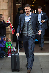 © licensed to London News Pictures. London, UK 26/05/2013. Daniel Van Buyten and FC Bayern Munich players leaving The Landmark Hotel in central London on Sunday, 26 May 2013 after their UEFA Champions League victory in Wembley Stadium against Borussia Dortmund. Photo credit: Tolga Akmen/LNP