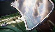 Image of an early green Volkswagen Beetle Bug, Orange County, California, America west coast