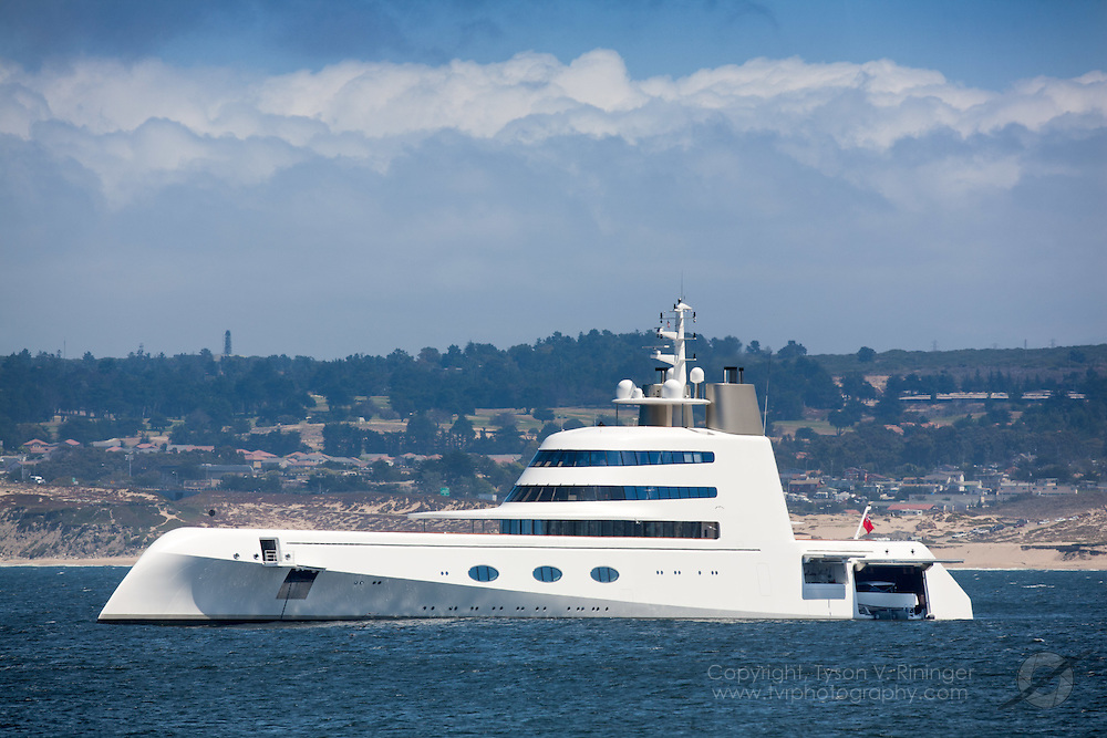 Launched in 2008 by German ship builder Blohm + Voss, this futuristic 387-foot megayacht dubbed SF99 until it had exceeded 99 meters, then named 'SIGMA', made a quick visit to Monterey, California. Designed by Phillipe Starck and built under the supervision of Blue Ocean Yacht Management, SIGMA features a cutting edge reverse-hull that pierces through waves with less resistance than a conventional bow yacht...The $300 million dollar mega yacht is currently owned and operated by Russian billionaire Andrey Melnichenko and his wife, Alexandra Kokotovich. The business tycoon and Serbian fashion model named the ship 'A' after the letter of their first names.