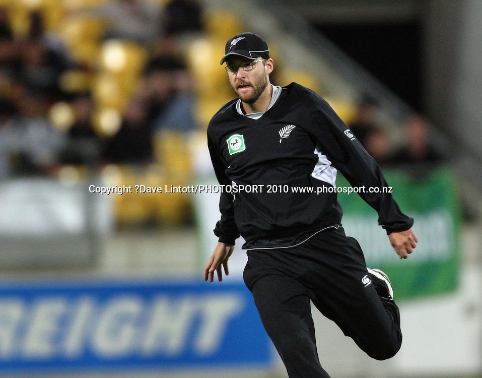 NZ captain Daniel Vettori.<br /> Fifth Chappell-Hadlee Trophy one-day international cricket match - New Zealand v Australia at Westpac Stadium, Wellington. Saturday, 13 March 2010. Photo: Dave Lintott/PHOTOSPORT