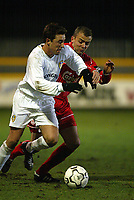 Fotball: Liverpool Vegard Heggem in action against Leeds Jamie McMaster during the Reserve match at Haigh Avenue, Southport. 150102<br />