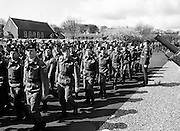 On the March. Troops from the 53rd Infantry Battalion, including some from the Southern Command, pass the reviewing stand at McKee Barracks, Cork.<br />