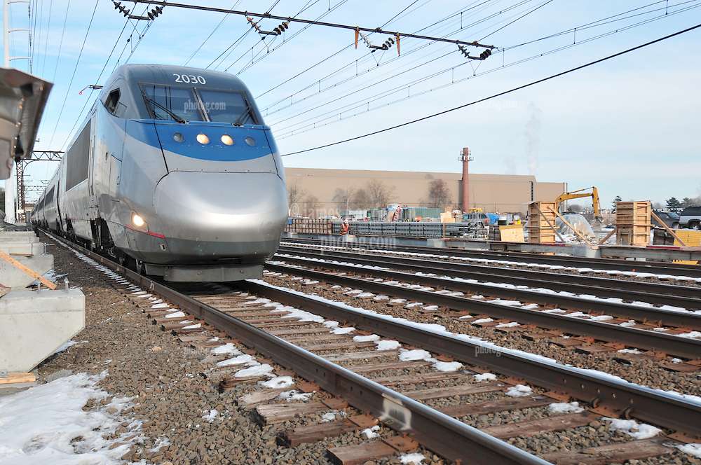 Southbound Amtrak Acela. Additional View taken during Construction Progress Photography of the Railroad Station at Fairfield Metro Center - Site visit 7 of once per month Chronological Documentation.