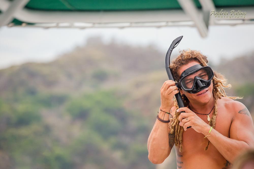 Preparing to go Snorkeling off Isla Tortuga, Nicoya gulf, Costa Rica
