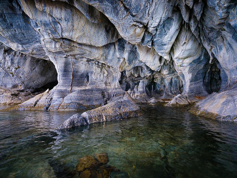 PUERTO RIO TRANQUILO, CHILE - CIRCA FEBRUARY 2019: Interior of marble caves over Lake General Carrera close to Puerto Rio Tranquilo in Chile.