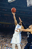 04 APR 2016: Guard Joel Berry III (2) of the University of North Carolina lays up a shot over Guard Josh Hart (3) of Villanova University during the 2016 NCAA Men's Division I Basketball Final Four Championship game held at NRG Stadium in Houston, TX. Villanova defeated North Carolina 77-74 to win the national title. Brett Wilhelm/NCAA Photos