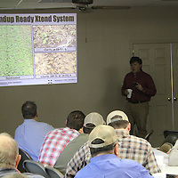 RAY VAN DUSEN/BUY AT PHOTOS.MONROECOUNTYJOURNAL.COM<br /> Dr. Jason Bond of the Delta Research and Extension Center speaks about managing Round-Up-ready crop systems during a grain crop information meeting at the Monroe County Extension Service.