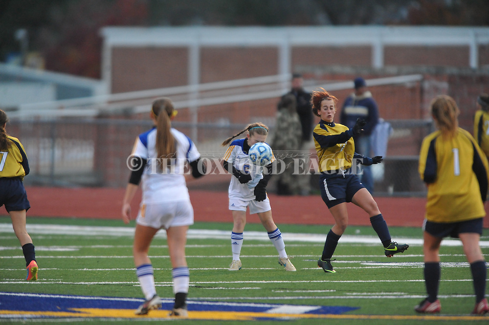 Oxford High's Sarah Nash (6) vs. Pearl in girls high school soccer in Oxford, Miss. on Wednesday, November 26, 2014. Oxford won 3-0.