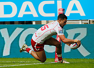 Kieren Moss of Hull Kingston Rovers dives to score the try against Hull FC  during the Betfred Super League match at the Dacia Magic Weekend, St. James's Park, Newcastle<br /> Picture by Stephen Gaunt/Focus Images Ltd +447904 833202<br /> 20/05/2018