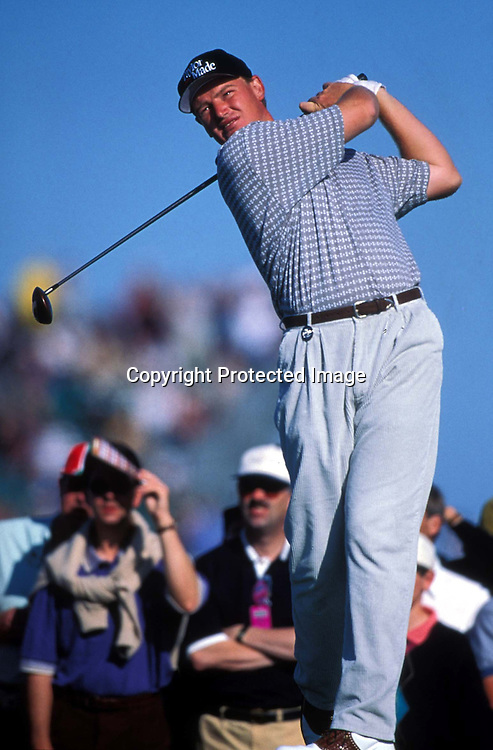 Golfer Ernie Els of South Africa, competes at the British Open, 1997.  PHOTO: Offside/PHOTOSPORT
