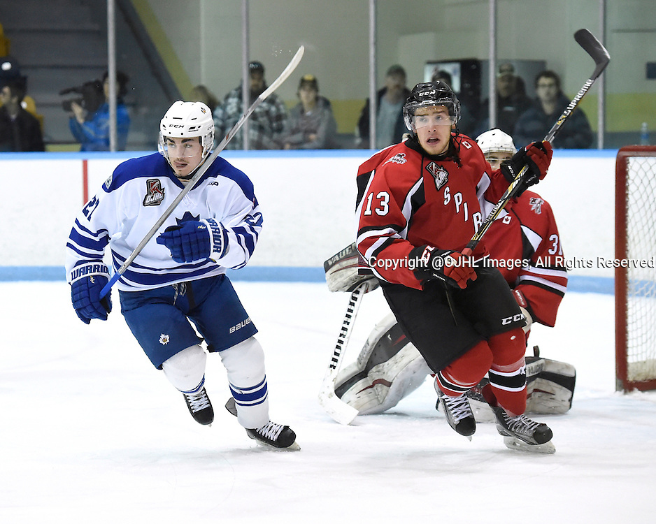 MARKHAM, - Feb 26, 2016 -  Ontario Junior Hockey League game action between Stouffville and Markham at the Markham Centennial Community Centre, ON. Riley St. Onge #27 of the Markham Royals and Max Novick #13 of the Stouffville Spirit pursue the play during the first period.<br /> (Photo by Andy Corneau / OJHL Images)