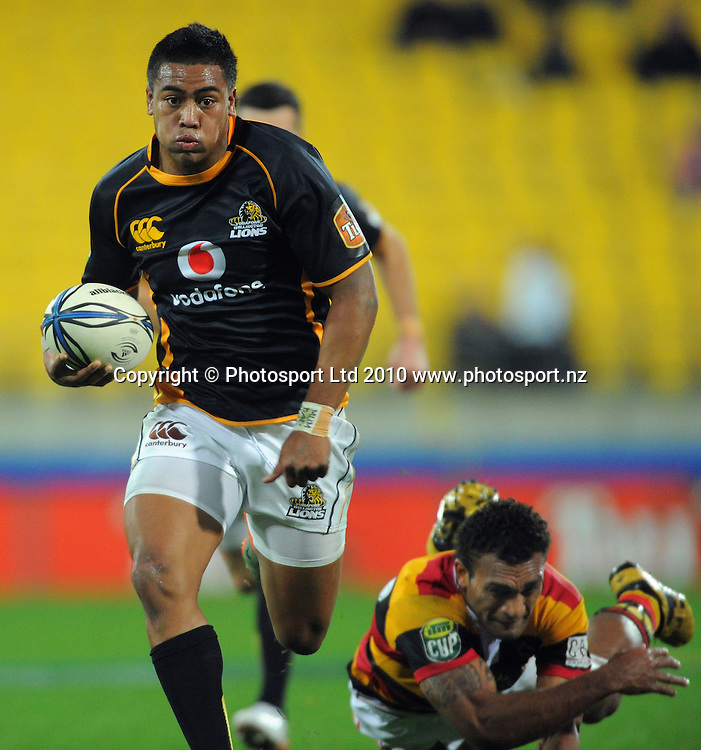 Wellington winger Julian Savea leaves Save Tokula grasping at thin air as he heads for the tryline. ITM Cup rugby union - Wellington Lions v Waikato at Westpac Stadium, Wellington, New Zealand on Saturday, 21 August 2010. Photo: Dave Lintott/PHOTOSPORT