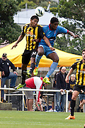 Nathaniel Hailmariam (Hawkes Bay) and James Musa (Wellington). Team Wellington v Hawkes Bay United, ASB Premiership semi final at David Farrington Park, Wellington. 8 March 2014. Photo: Cameron McIntosh/www.photosport.co.nz