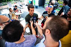 Aljaz Bedene surraunded with journalist during ATP Press conference with Aljaz Bedene, on July 25th, 2019, in Ljubljansko kopalisce Kolezija, Ljubljana, Slovenia. Photo by Grega Valancic / Sportida
