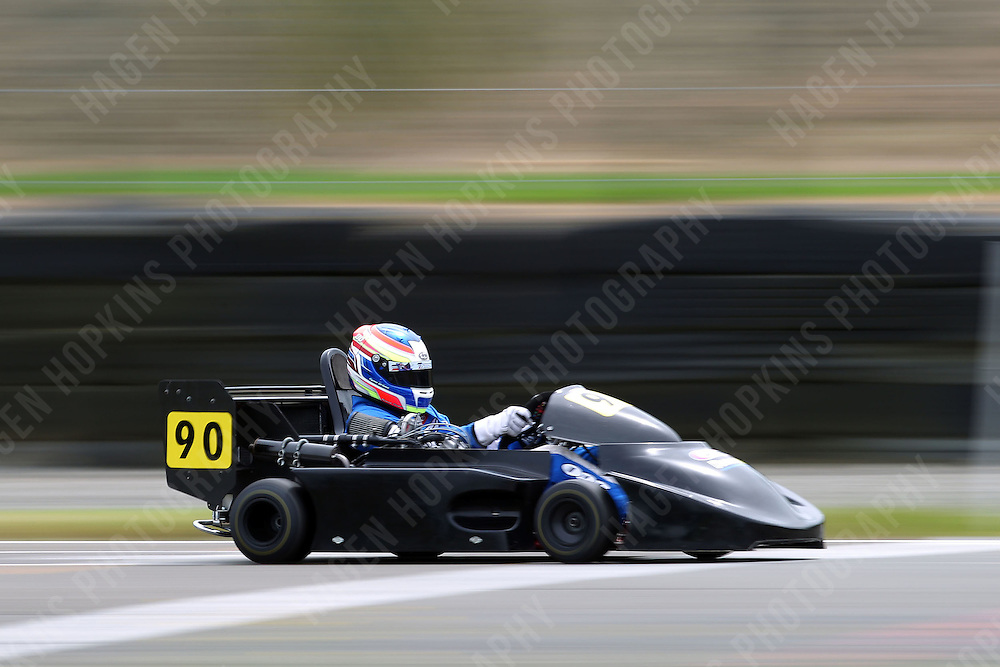 Ryan Urban, 90, races in the International Superkarts class during the 2012 Superkart National Champs and Grand Prix at Manfeild in Feilding, New Zealand on Saturday, 7 January 2011. Credit: Hagen Hopkins.