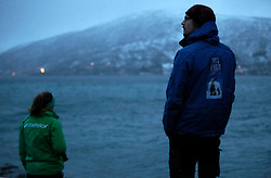 NORWAY TROMSO 4DEC15 - Greenpeace campaigner Larissa Baeumer of Germany and Arctic guide Christian Engelke (R) observe whales from land near the arctic city of Tromso during the polar night.<br /> <br /> jre/Photo by Jiri Rezac / Greenpeace<br /> <br /> © Jiri Rezac 2015