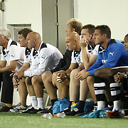 Newcastle United team sits on the bench during an International Friendly soccer match between English Premier League team Newcastle United and the Orlando City Lions of the United Soccer League, at the Florida Citrus Bowl on Saturday, July 23, 2011 in Orlando, Florida. Orlando won the match 1-0. (AP Photo/Alex Menendez)