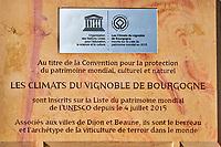 France, Côte-d'Or (21), Paysage culturel des climats de Bourgogne classés Patrimoine Mondial de l'UNESCO, Dijon, panneau d'inscription à l'Unesco // France, Burgundy, Côte-d'Or, Dijon, Unesco world heritage site