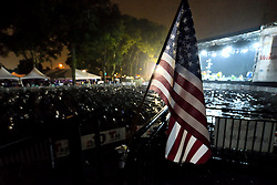 Heavy rain shortens the official program as many in attendance leave before the end of the July 4th, 2016 July 4th, 2016 Wawa Welcome America concert, on the Benjamin Franklin Parkway, in Center City, Philadelphia, Pennsylvania.