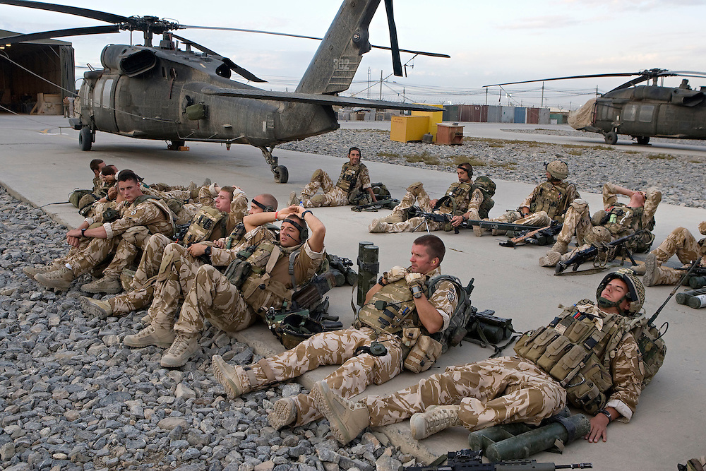 British soldiers of 3rd Battalion The Parachute Regiment stage at Kandahar airfield as they prepare for an airborne assault as part of Operation 'Southern Beast'. Kandahar Province, Afghanistan on the 3rd of August 2008.