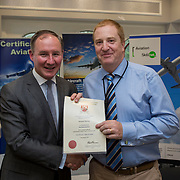 24.05.2018.       <br /> The Limerick Institute of Technology with Atlantic Air Adventures and funding from the Aviation Skillnet presented over forty certificates to Aviation professionals who have completed the Certificate in Aviation, The Aircraft Records Technician Level 7 and Part 21 Design, Level 7.<br /> <br /> Pictured at the event was Jim Gavin, The Irish Aviation Authority and Manager of the Dublin Football Team who presented, Bernard Murray with their cert.<br /> <br /> LIT in partnership with Atlantic Air Adventures, CAE Parc Aviation, Part 21 Design and industry experts such as Anton Tams, GECAS, Don Salmon, CAE Parc Aviation and Mick Malone, Part 21 Design have developed and deliver these key training programmes with funding for aviation companies provided by The Aviation Skillnet.<br /> <br /> . Picture: Alan Place