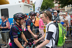 Leah Thorvilson (USA) of CANYON//SRAM Racing cahts to a race organiser after Stage 6 of the Lotto Thuringen Ladies Tour - a 80.5 km road race, starting and finishing in Gotha on July 18, 2017, in Thuringen, Germany. (Photo by Balint Hamvas/Velofocus.com)