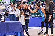 """Premiazione MVP Stefano Gentile<br /> Banco di Sardegna Dinamo Sassari - Umana Reyer Venezia<br /> Torneo """"Città di Sassari - Mimì Anselmi"""" Finale<br /> Sassari, 29/09/2018<br /> Foto L.Canu / Ciamillo-Castoria"""