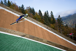 First jumpers Primoz Peterka and Ales Hlebanja during Slovenian summer national championship and opening of the reconstructed Bloudek's hill in Planica on October 14, 2012 in Planica, Ratece, Slovenia. (Photo by Matic Klansek Velej / Sportida)