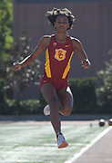 Nov 2, 2017; Los Angeles, CA, USA; Southern California Trojans long jumper Courtney Corrin during workout at Cromwell Field.