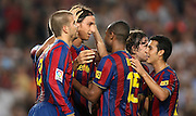FC Barcelona's Zlatan Ibrahimovic (c), Gerard Pique (l), Seydou Keita (b) and Pedro Rodriguez (r) celebrate goal during La Liga match.August 31 2009.