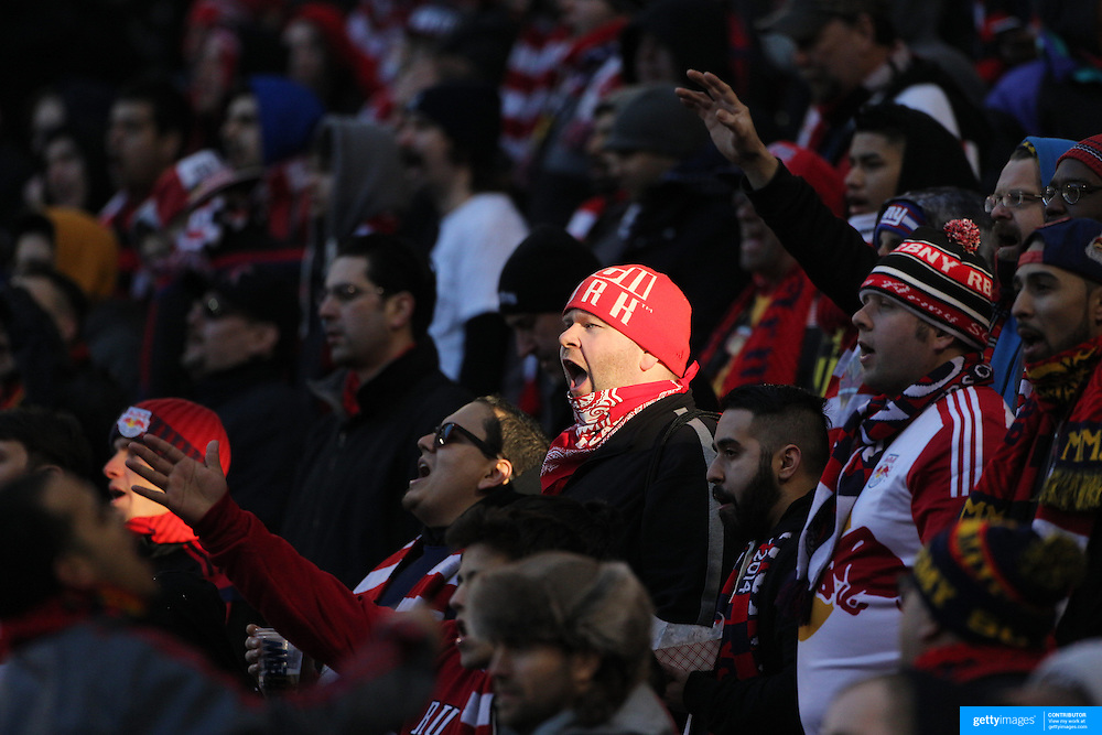 New York Red Bulls fans in action during the New York Red Bulls Vs D.C. United Major League Soccer regular season match at Red Bull Arena, Harrison, New Jersey. USA. 22nd March 2015. Photo Tim Clayton