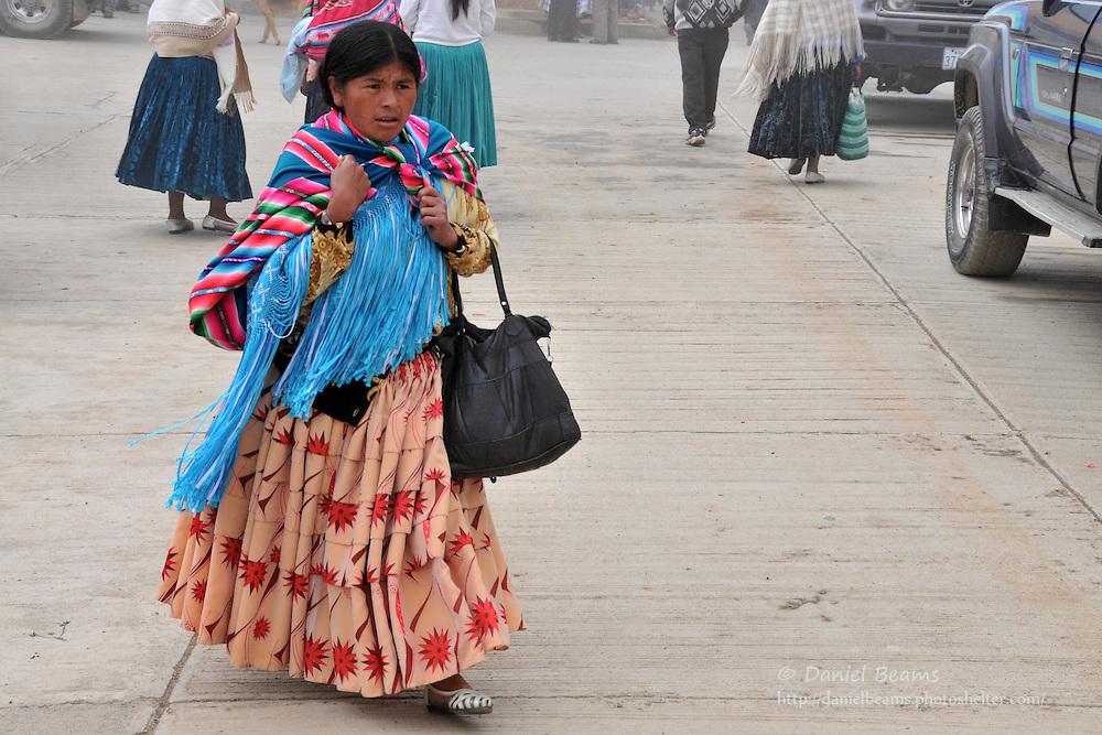 Campesino woman in Tacacoma, Bolivia