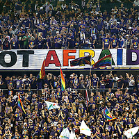 ORLANDO, FL - JUNE 18:  Fans put up a sign during an MLS soccer match between the San Jose Earthquakes and the Orlando City SC at Camping World Stadium on June 18, 2016 in Orlando, Florida. (Photo by Alex Menendez/Getty Images) *** Local Caption ***