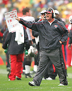 GREEN BAY, WI - SEPTEMBER 25:  Head coach Jon Gruden of the Tampa Bay Buccaneers complains to officials during the game against the Green Bay Packers at Lambeau Field on September 25, 2005 in Green Bay, Wisconsin. The Buccaneers defeated the Packers 17-16. ©Paul Anthony Spinelli *** Local Caption *** Jon Gruden