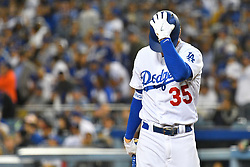 May 9, 2018 - Los Angeles, CA, U.S. - LOS ANGELES, CA - MAY 09: Los Angeles Dodgers First base Cody Bellinger (35) reacts to striking out with the base loaded in the 4th inning of a MLB game between the Arizona Diamondbacks and the Los Angeles Dodgers on May 9, 2018 at Dodger Stadium in Los Angeles, CA. (Photo by Brian Rothmuller/Icon Sportswire) (Credit Image: © Brian Rothmuller/Icon SMI via ZUMA Press)