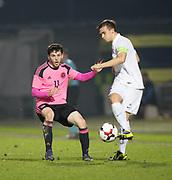 Scotland's Lewis Morgan and Estonia's Morten Kuusk  - Scotland under 21s v Estonia international challenge match at St Mirren Park, St Mirren. Pic David Young<br />  <br /> - © David Young - www.davidyoungphoto.co.uk - email: davidyoungphoto@gmail.com