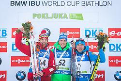 Ole Einer Bjoerndalen (NOR), Simon Schempp (GER) and Evgeniy Garanichev (RUS) at podium during flower ceremony after Men 10 km Sprint of the IBU Biathlon World Cup Pokljuka on Thursday, December 16, 2015 in Pokljuka, Slovenia. Photo by Ziga Zupan / Sportida
