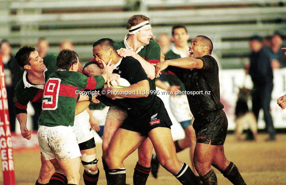 Jonah Lomu in action. All Blacks v Western Transvaal, New Zealand Tour of South Africa, 1996. Photo: Andrew Cornaga/PHOTOSPORT