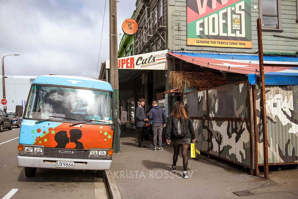 Fidel's Cafe is an iconic eatery located along Cuba Street in Te Aro, Wellington. Address: 234 Cuba St, Te Aro, Wellington 6011, New Zealand