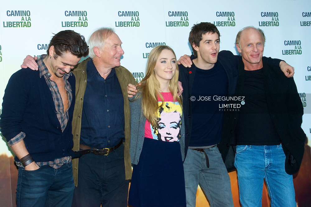 Irish actor Colin Farrel, film director Peter Weir, actress Saoirse Ronan, US actor Jim Sturgess and US actor Ed Harris attend the photocall of 'The way back' at Eurostars Hotel in Madrid