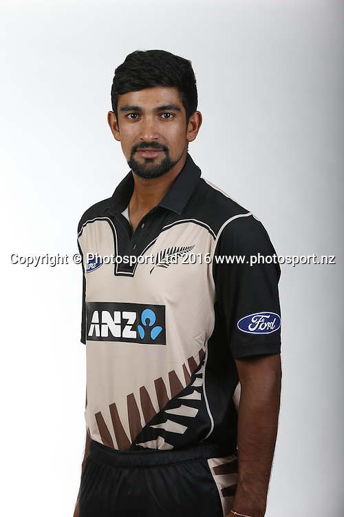Ish Sodhi.<br /> New Zealand Black Caps T20 match full length and 3/4 portraits for the 2016/17 cricket season. Pullman Hotel, Auckland. 9 November 2016. Copyright Image: William Booth / www.photosport.nz