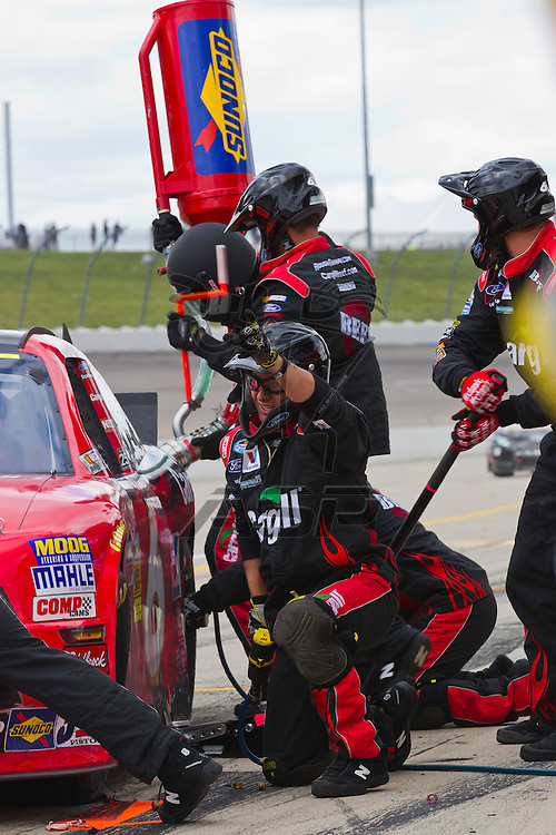 NEWTON, IA - MAY 20, 2012:  Ricky Stenhouse, Jr. (6) brings his car in for service during the Pioneer Hi-Bred 250 at the Iowa Speedway in Newton, IA.