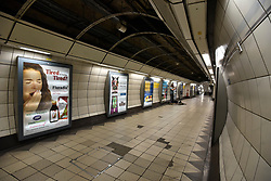 © Licensed to London News Pictures. 07/07/2018. LONDON, UK. As the nation watches the England v Sweden World Cup quarter-final on live on television, normally busy tube stations such as Bank and Monument remain particularly quiet.  Photo credit: Stephen Chung/LNP