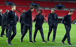Juventus Kwadwo Asamoah (centre) on the pitch before the press conference at Wembley Stadium, London.