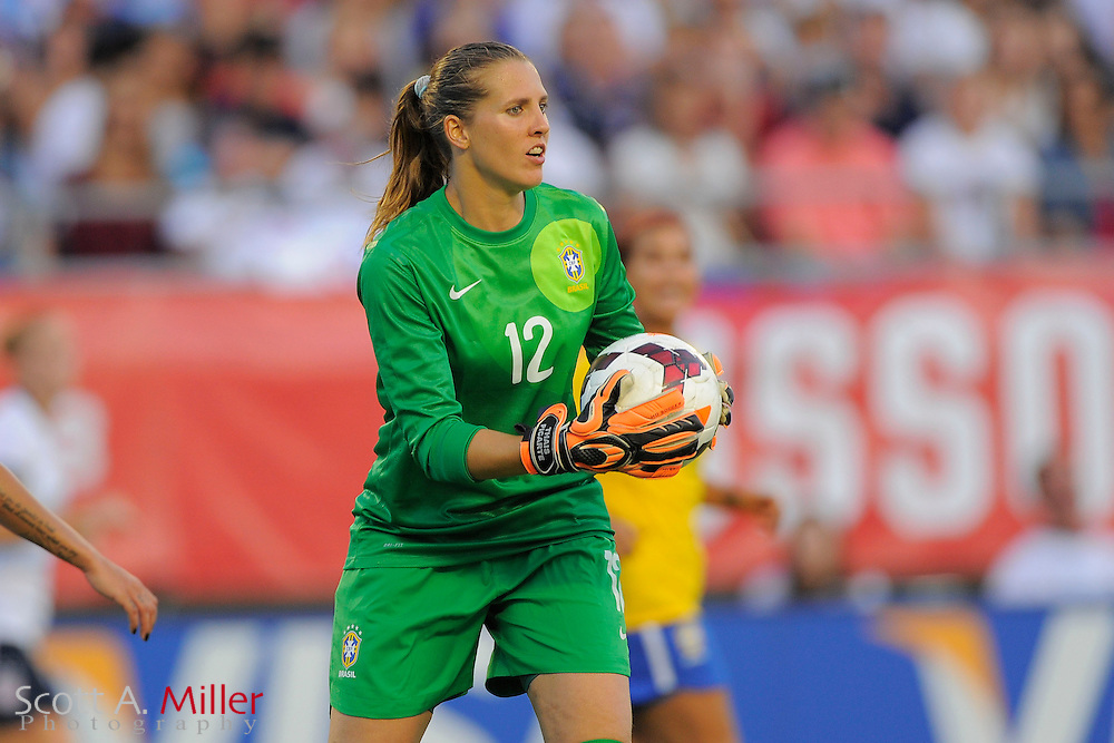 Brazil goalkeeper Luciana (12) in action during the United States' 4-1 win over Brazil in an international friendly at the Florida Citrus Bowl on Nov. 10, 2013 in Orlando, Florida. <br /> <br /> &copy;2013 Scott A. Miller