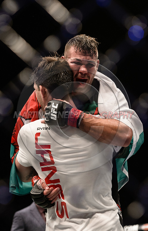 "GLASGOW, UNITED KINGDOM, JULY 16, 2017: Jack Marshman is held aloft by Ryan Janes during ""UFC Fight Night Glasgow: Nelson vs. Ponzinibbio"" inside the SSE Hydro Arena in Glasgow, Scotland on Sunday, July 16, 2017."